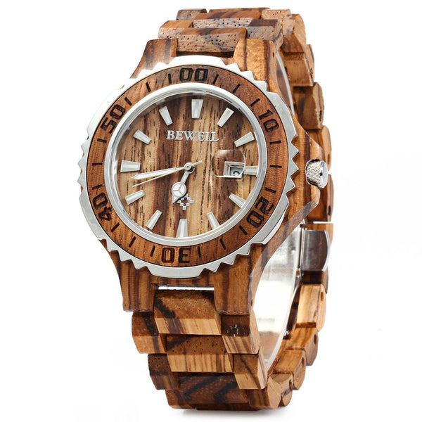 BEWELL Luxury Wooden Men Quartz Watch Waterproof Luminous Hands Calendar Sandalwood relogio masculino Male Dress Watches 2016