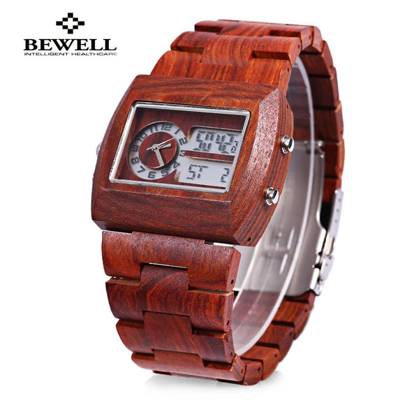 BEWELL Luxury Brand Bamboo Wooden Men Quartz Watch Dual time Zones Luminous Display Male Dress Wrist Watches relogio masculino
