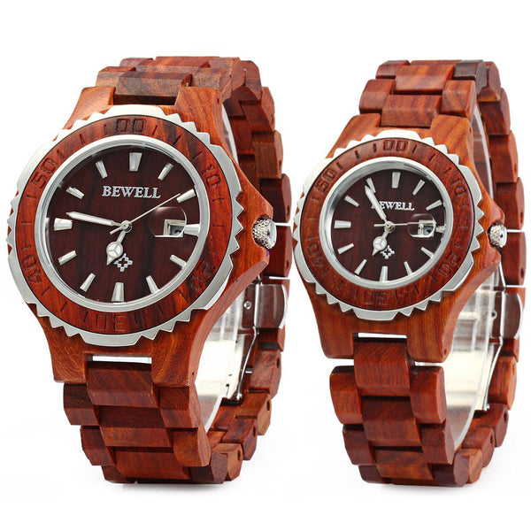 BEWELL Luxury Brand Pair of Couple Quartz Watch Waterproof Calendar Men Women Wood Watch Lover's Wristwatches relogio (30% OFF FOR PURCHASES TILL 28 FEB 2017 + FREE SHIPPING  WITH DISCOUNT CODE: 30%OFF)
