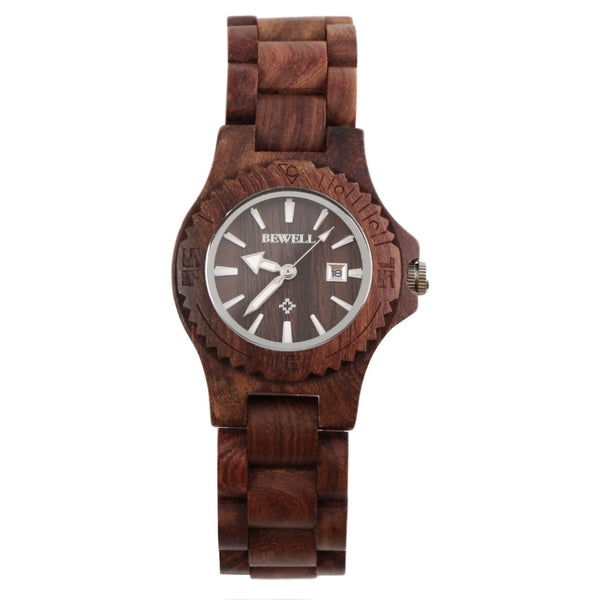 Bewell W020A Women's Wooden Watch Quartz Wood Analog Date Display Wristwatch Hot!