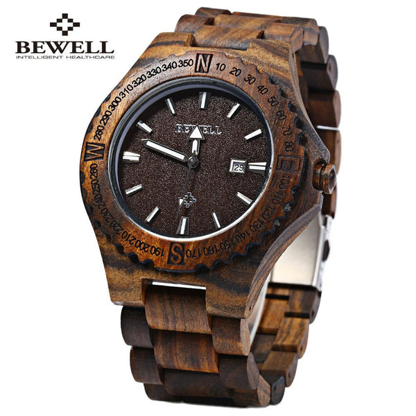 BEWELL 2016 Luxury Watch Men Wooden Quartz Watches Waterproof Calendar Sandalwood Man Dress Wrist Watches relogio masculino