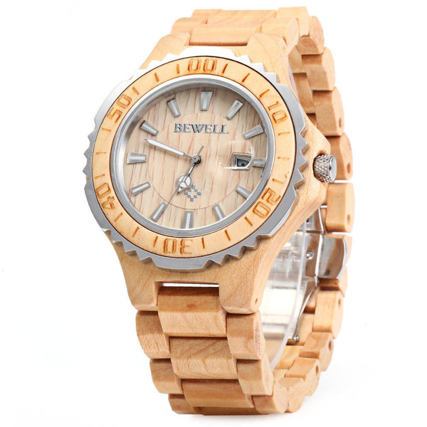 BEWELL 2016 Luxury Brand Wooden Men Quartz Watch with Luminous Hands Calendar Water Resistance Analog Wrist watches reloj hombre