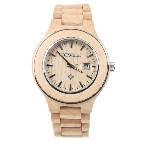 Bewell W100A Wooden Grain wristwatch Men Women Lover Couple Maple Wood Calendar Quartz Wrist Watch Gift Vintage Style