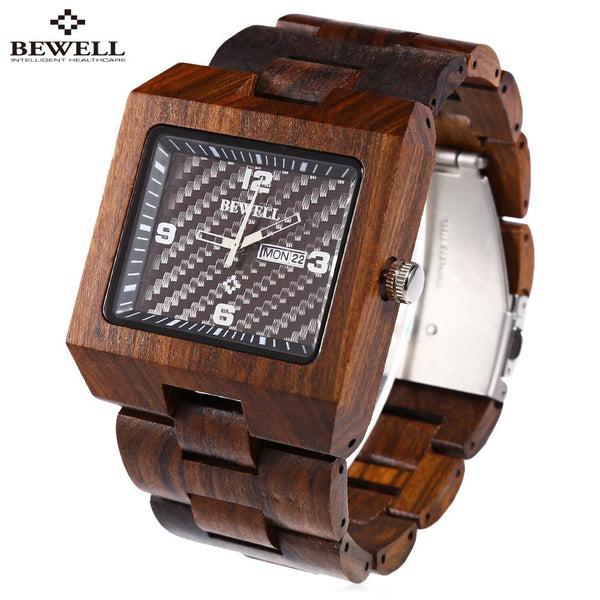 BEWELL Luxury Brand Men Wood Quartz Watch, Male Luminous Pointer Calendar Wooden Wrist watch, Waterproof Men Wristwatch relogio