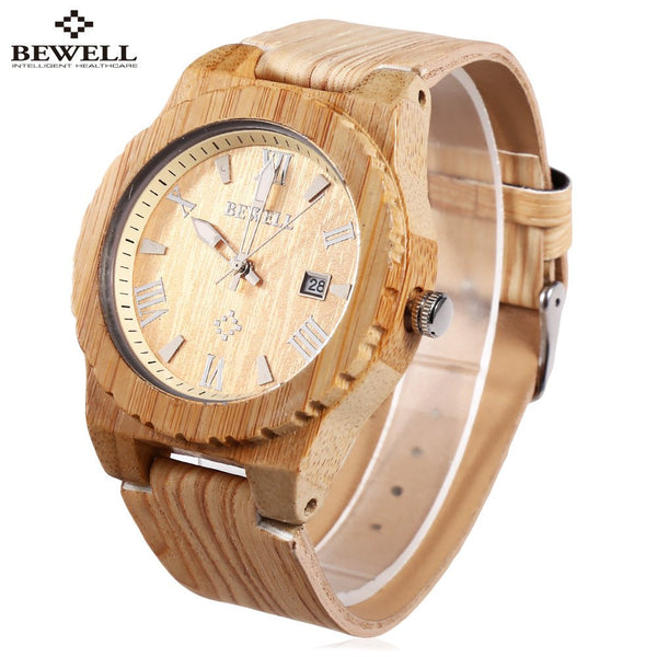 BEWELL Men Wood Dial Quartz Watch Leather Strap Watches, Luminous Pointer Calendar Roman Numerals Scale Waterproof Wristwatches