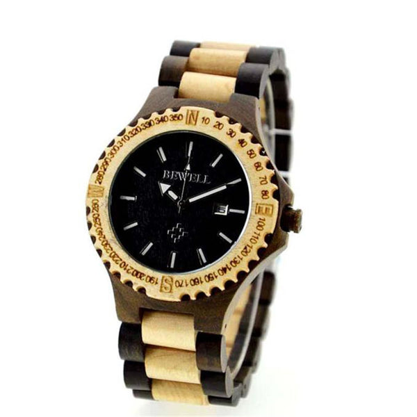 Bewell Men's Natural Wooden Wristwatch Wood Watch Quartz with Date with Box Analog Luminous Wristwatch  Men Watch 2016 Hot Sale