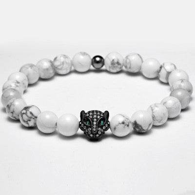 2016 Atolyewolf Men Bracelets Micro Pave CZ Green Eye Wolf Charm Bracelet White European pulseras Natural Agata Beads Jewelry - SustainTheFuture.us - The Natural and Organic Way of Life