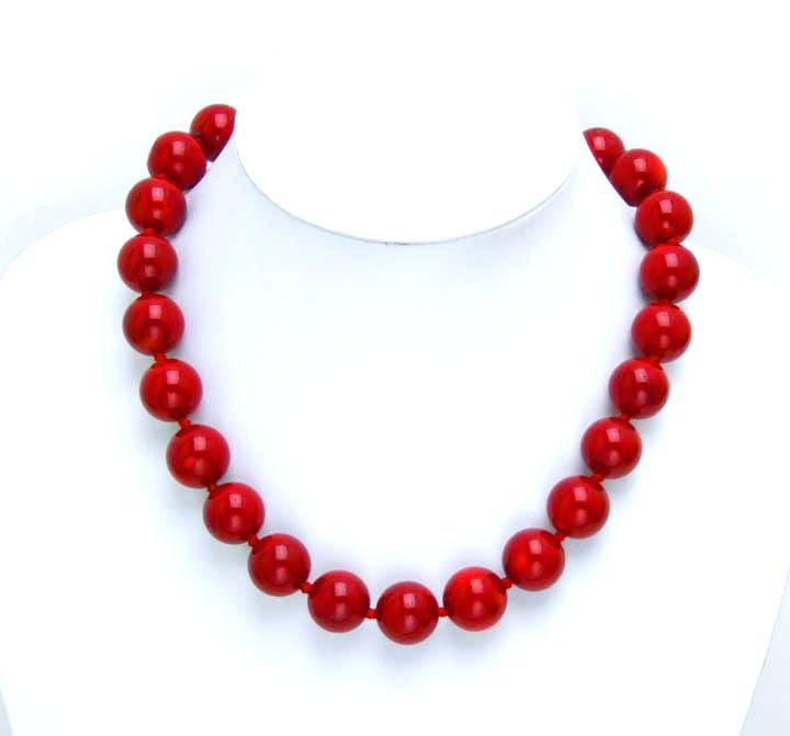 Infrequent! Huge 14-15MM high quality perfect Round GENUINE NATURAL Red Coral Necklace-5497 Wholesale/retail Free shipping