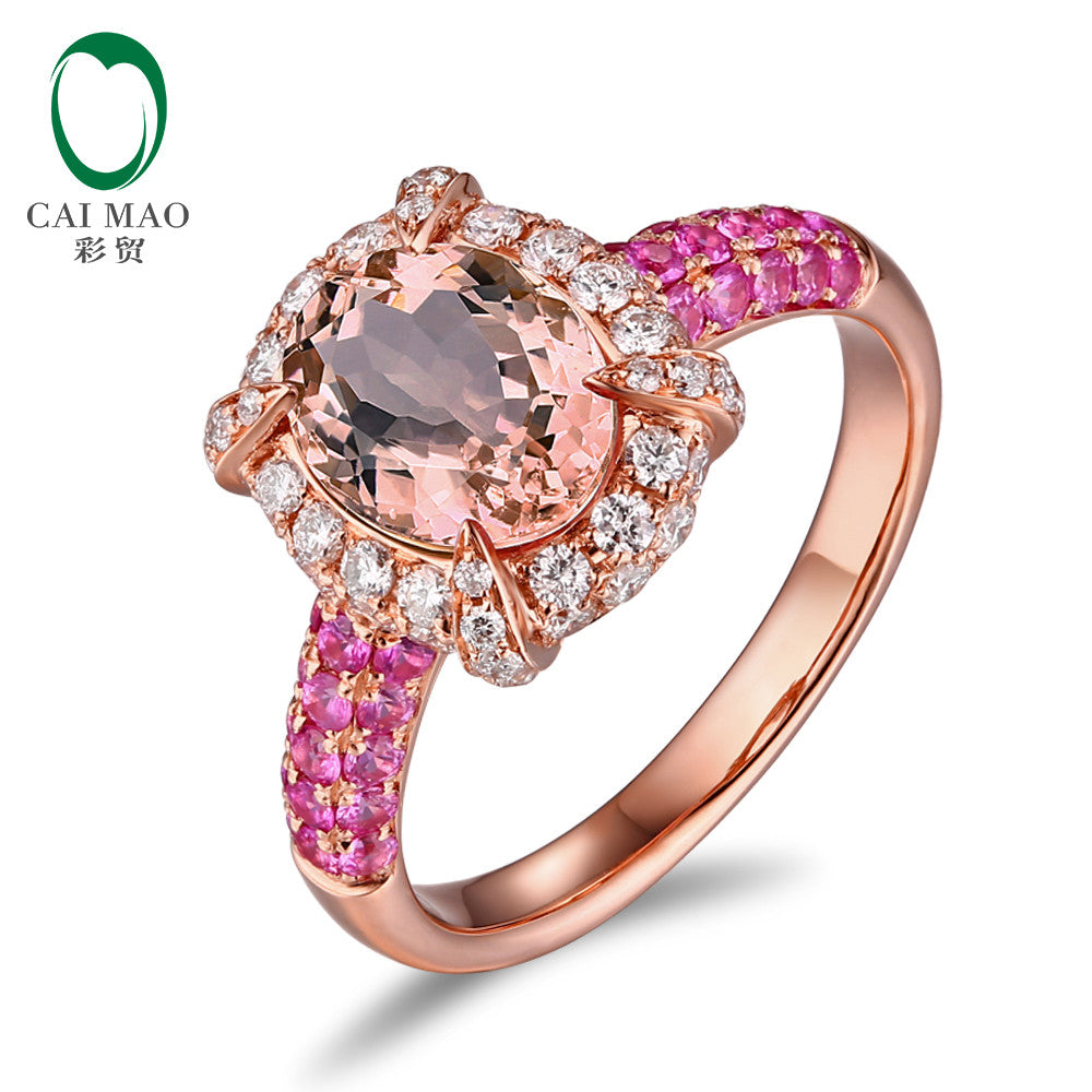 18K Rose Gold 1.79ct Natural Peach Morganite 1.13ctw Diamonds & Pink Sapphires Engagment Ring
