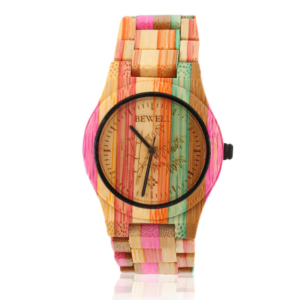 BEWELL Luxury Fashion Ladies Full Bamboo Quartz Watch Natural Wooden Women Clock Colorful Relogio Feminino Hot!