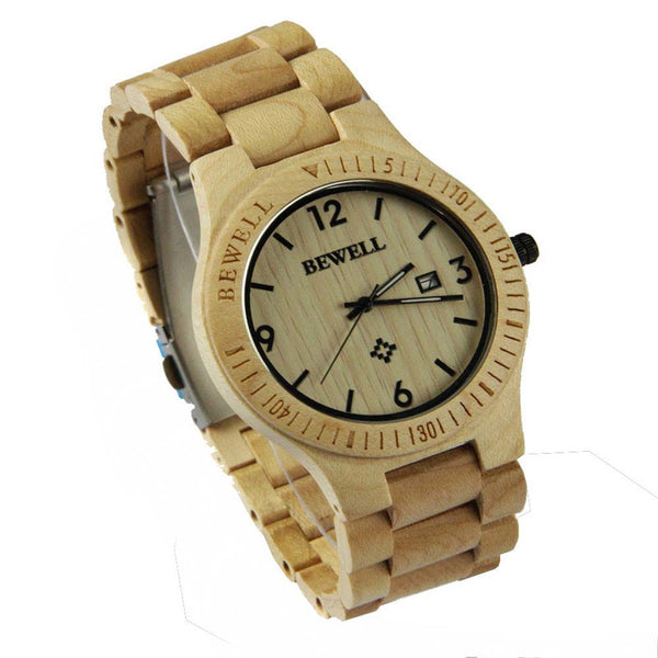 Bewell Fashion  Wooden Watches Men Japan Quartz Movement Wristwatch Men Women 100% Natural Wood Watches relogio masculino