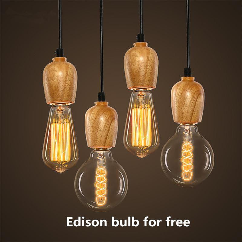 American/European Wood Pendant Lights Vintage Black Cord Pendant Lamps Edison Bulb Rural Lighting Suspension Hanging Lamparas - SustainTheFuture.us - The Natural and Organic Way of Life