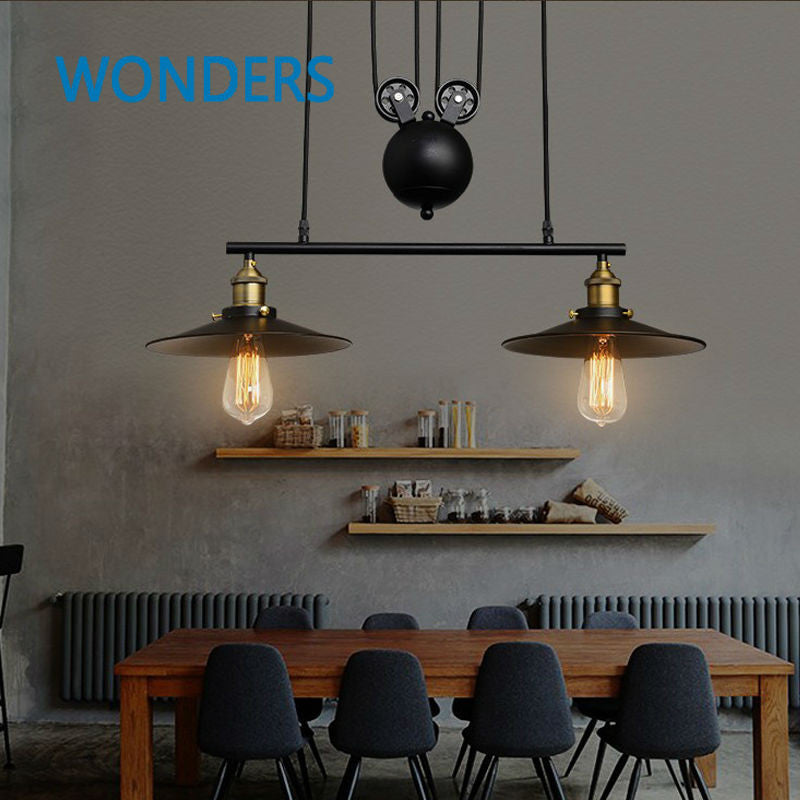 1/2/3 Head Lifting Pulley Industrial  Pendant Light American Country Vintage Loft Pulley lamp bar hotel Dining Room decoration - SustainTheFuture.us - The Natural and Organic Way of Life