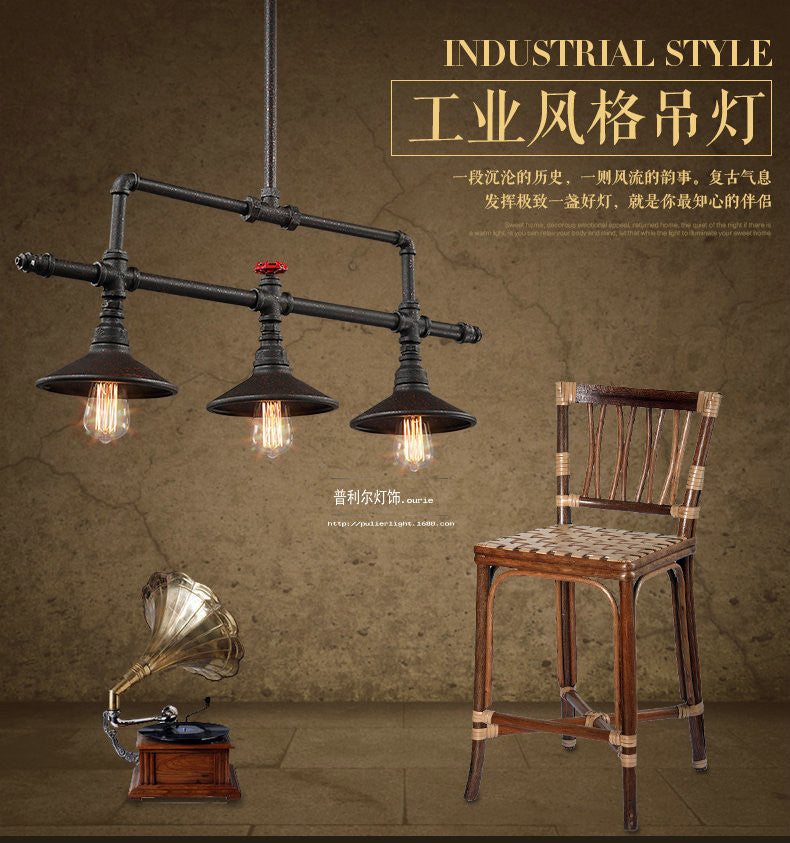 3 Heads American Country Loft Style Iron Water Pipe Bedroom Pendant Light Restaurant Cafe Decoration Retro Light Free Shipping