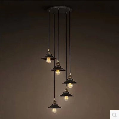 American Retro Loft Style Industrial Lighting Fixtures Vintage Pendant Lamp with 6 Edison bulb Lights Lamparas Colgantes - SustainTheFuture.us - The Natural and Organic Way of Life