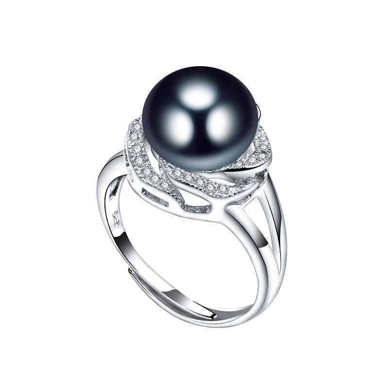 HENGSHENG Freshwater Pearl Ring For Women 925 Sterling Silver Adjustable Ring With Big Pearl 10-11mm AAAA Natural Pearl Jewelry