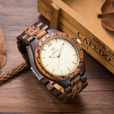 2016 Newest Arrival wooden Wristwatch Mens Wood Watch Natural Black Sandal Wood Analog Quartz Casual Watches Japan MIYOTA  W3133