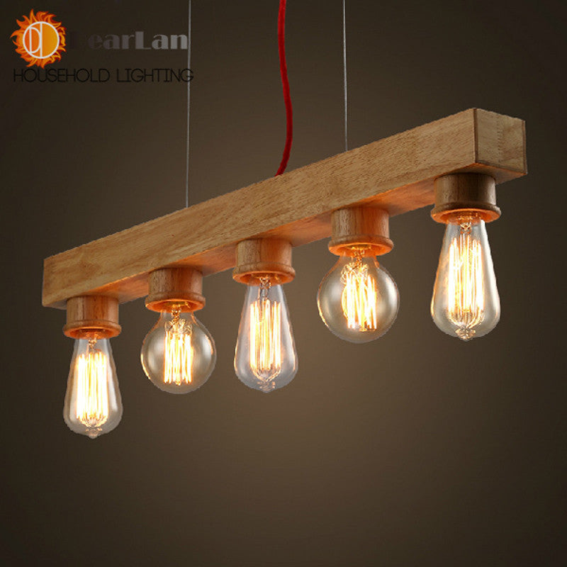 Pure Natural Wood Makes Pendant lamp  5 Light  Wood Lamp Modern Pendant Lamp Vintage Pendant Light Free Shipping(DO-40)