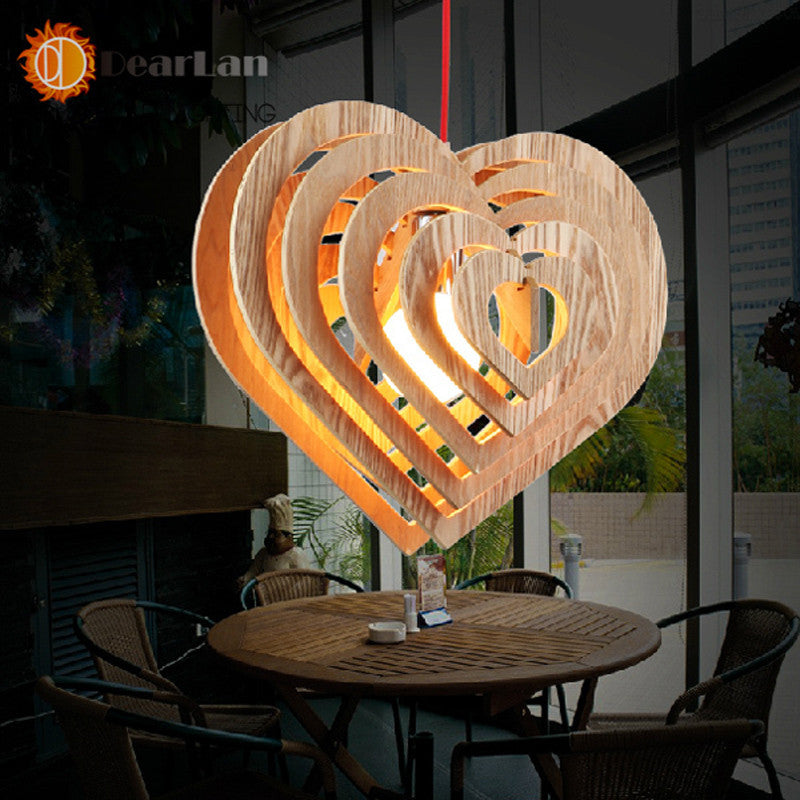 Heart-Shaped Pure Natural Wood Makes Pendant Lamp  Wood    Lamp   Vintage Pendant Light Free Shipping