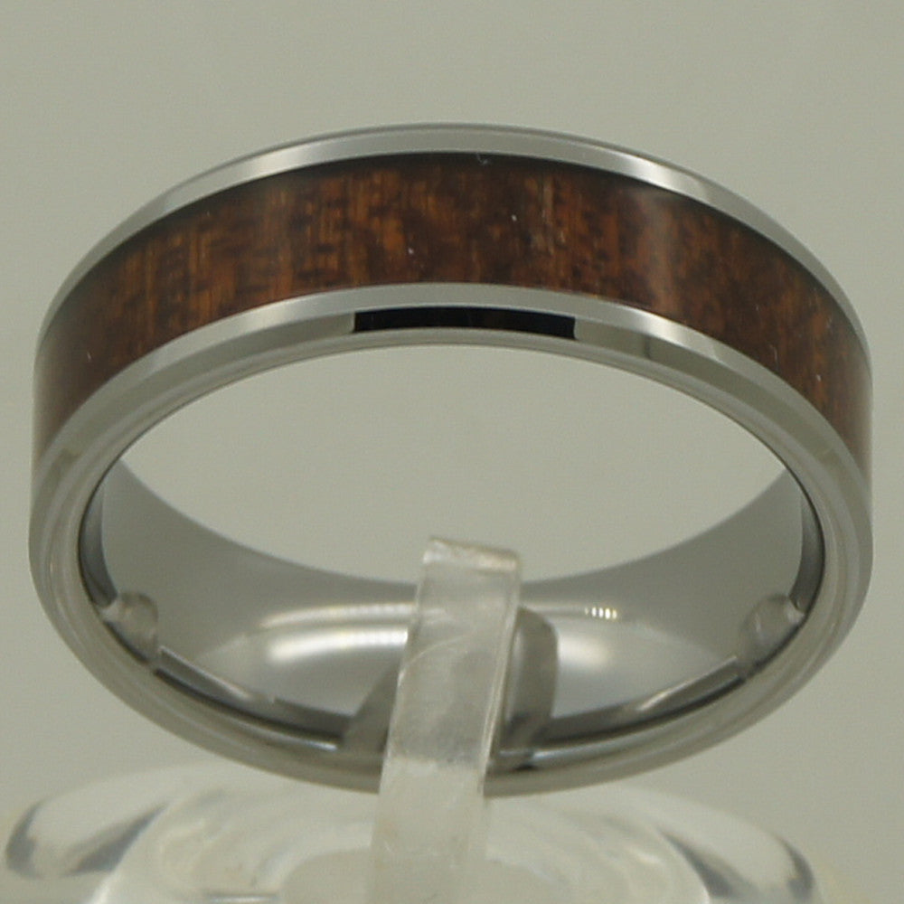 8mm natural wood  inlayed small bevel men/women hi-tech scratch proof wedding tungsten ring