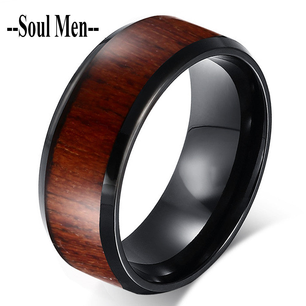 8mm Mens Black Tungsten Carbide Wedding Band Ring with Natural Wood inlay Personalize Christmas Women Gift Size 7 to 12