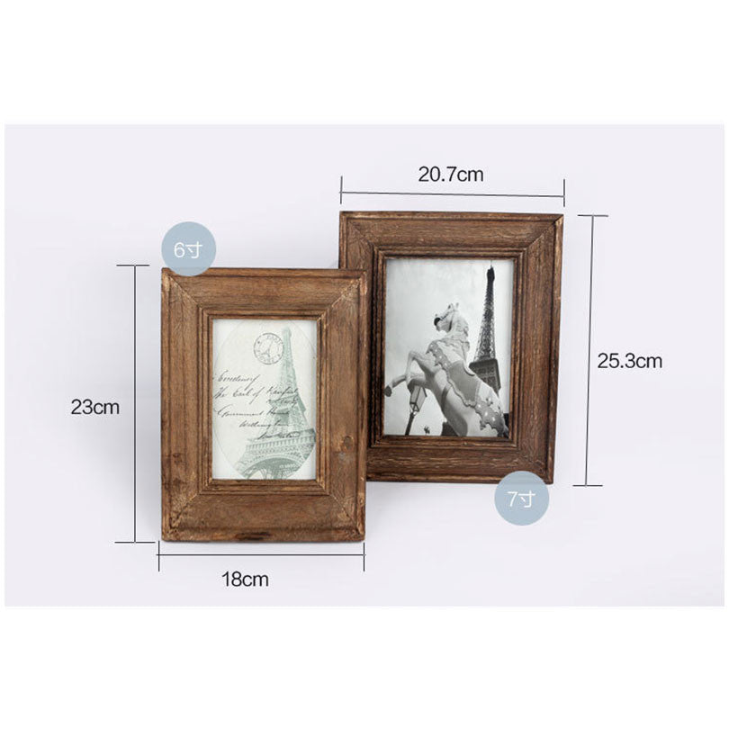 6/7 inch  Retro Natural Wood Photo Frame  Zakka Vintage Wooden Picture Frames Home Decorations