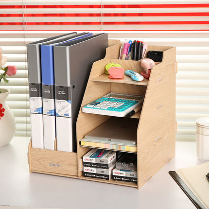 1 set natural color wood document trays Desk Accessories & Organizer magazine container Deli 9842