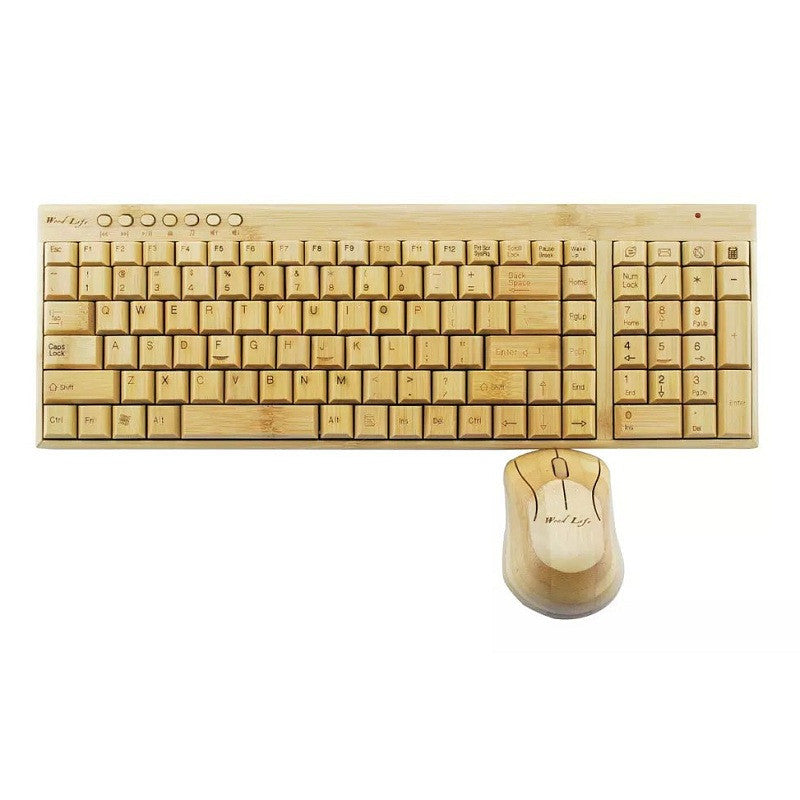 100% Natural Bamboo Wooden Wood PC Multi-media Function wireless Keyboard and Mouse Combo,UK Layout with 109 keys,