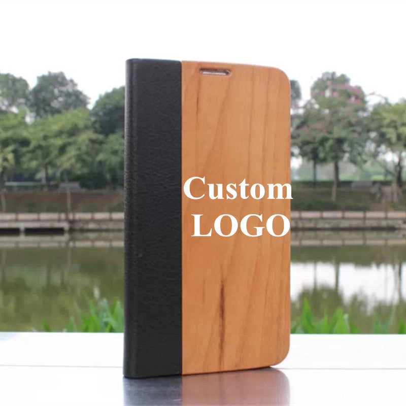 (Free Custom Logo Fee)100% Nature Cherry Walnut Wood Case For Samsung Galaxy S5 I9600 Wooden Leather Flip DIY Logo Phone Cover