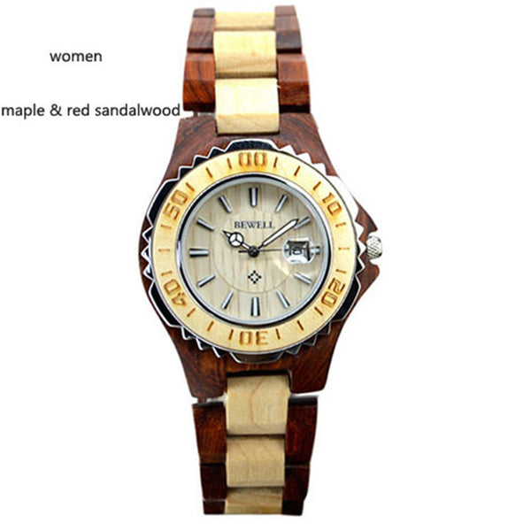 Bewell Men's Women's Dress Watch Japan Quartz Wood Watch Business Calendar Clock Wristwatches Relogio Masculino