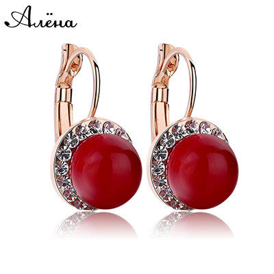 Red Coral Earrings Round Ball Natural Ruby Stone Wedding Bride Jewelry Crystal Cubic Zirconia Pendientes De Coral Rojo Earrings