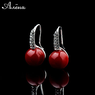 Red Ruby Earrings Round Ball Natural Big Coral Stone Rose Gold Joyeria Oso Cubic Zirconia Crystal Bride Drops Earrings Joya Rubi