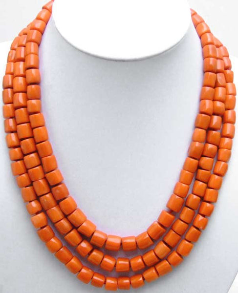 GENUINE NATURAL 3 Strands Thick Slice Pink Coral Necklace with Big Red Coral Clasp-5507 wholesale/retail Free shipping - SustainTheFuture.us - The Natural and Organic Way of Life