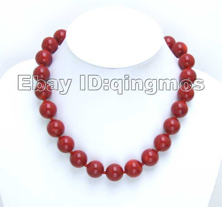"Beautiful! Huge 14-15MM high quality perfect Round GENUINE NATURAL Red Coral 18"" Necklace-5497 Wholesale/retail Free shipping - SustainTheFuture.us - The Natural and Organic Way of Life"