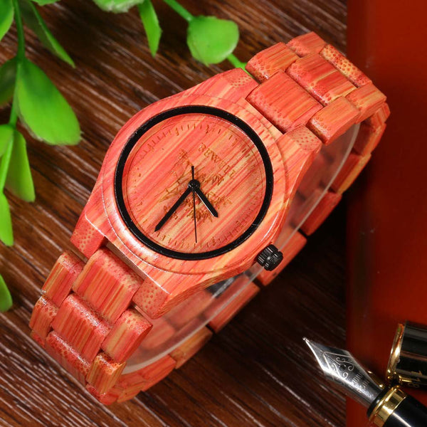 BEWELL Luxury Brand Women Quartz Watch, Handmade Colorful Bamboo Wood Fashion Casual Watch, Japan Movement Waterproof Wristwatch