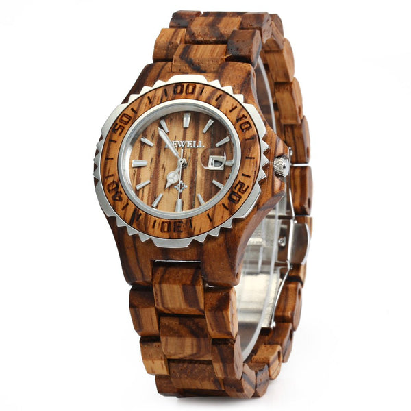 BEWELL Woman Watches 2016 Brand Luxury Wooden Quartz Watch Waterproof Luminous Hands Calendar Women Wristwatch relogio feminino