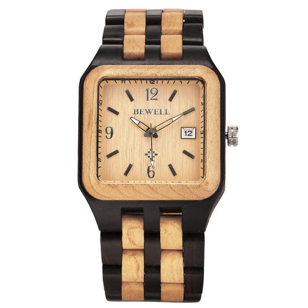 BEWELL Brand New Men's Wood Wristwatch Classic Folding Clasp Quarzt Movement Wrist Watch with Auto Date