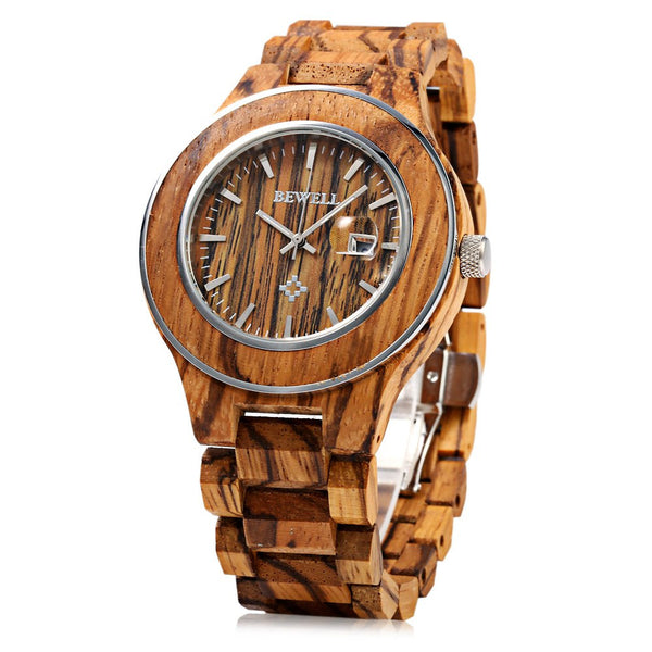 Bewell Watch Men Zebrano Wood Japan Movtment Quartz Watches, Male Fashion Waterproof Watch, Casual Calendar Watch relogio