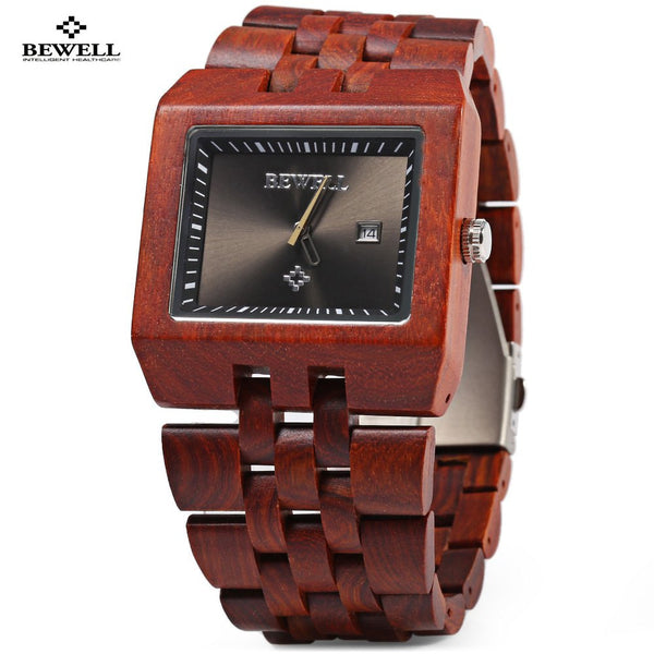 Bewell Fashion Quartz Watch Men Wood Watches,  Water Resistant Calendar Analog Wrist Watch, Male Casual Watches