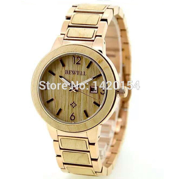Bewell 5ATM Waterproof Quartz Wristwatch Mens Gold Stainless Steel Zebra Wood Watch