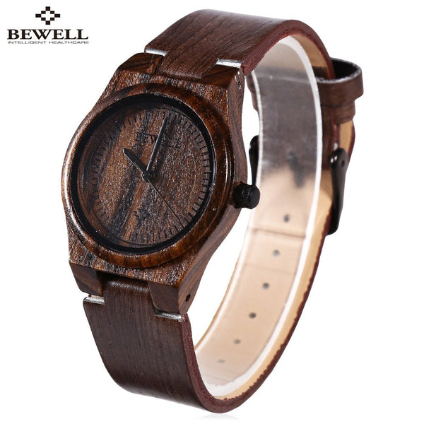 BEWELL Leather Strap Watches Women Quartz Watch, Female Elegant Wood Dial Wrist watch, Waterproof Woman Dress Watch montre femme