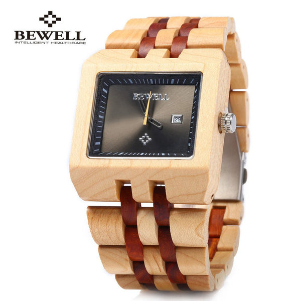 Bewell Men Imported Quartz Movtment Wooden Watch, Man Fashion Calendar Wood Wrist watch,  Waterproof Wristwatch