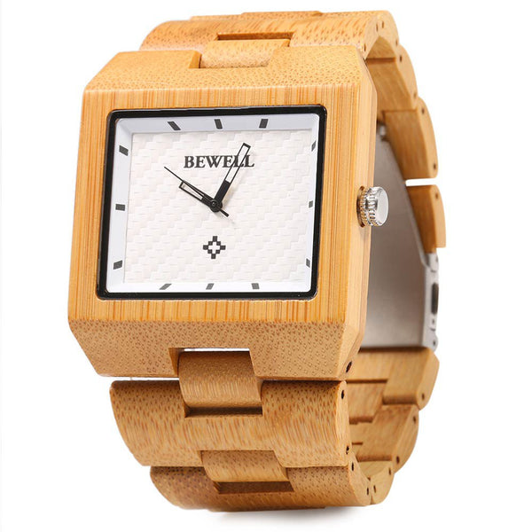 Bewell Wood Watch Men Fashion Wrist Watch, Wooden Band Rectangle Dial Analog Wristwatches, Water Resistant Casual Watches
