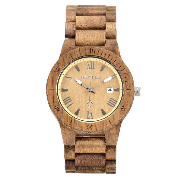 BEWELL Men Dress Watch Natural Wood Quartz Watch with Calendar Display Bangle Men Business Watches Relogio