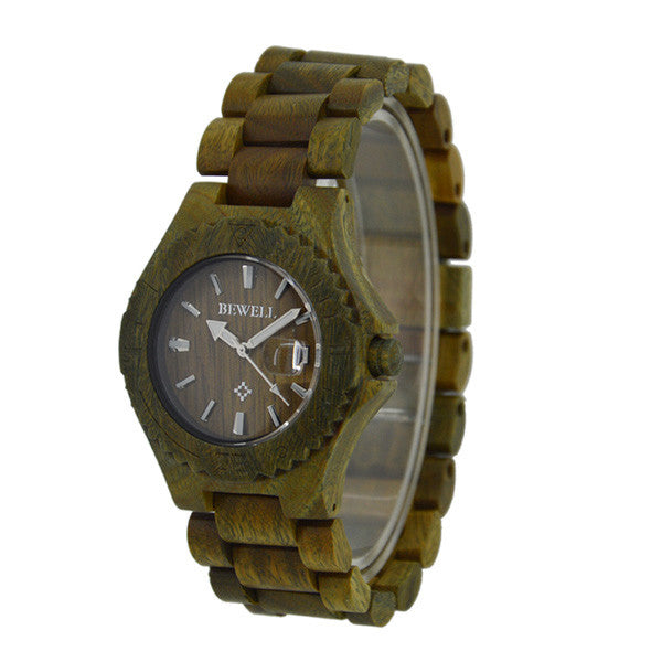 Bewell Zebra Wood Watch Japan Quartz Movement Mens Wooden Watch