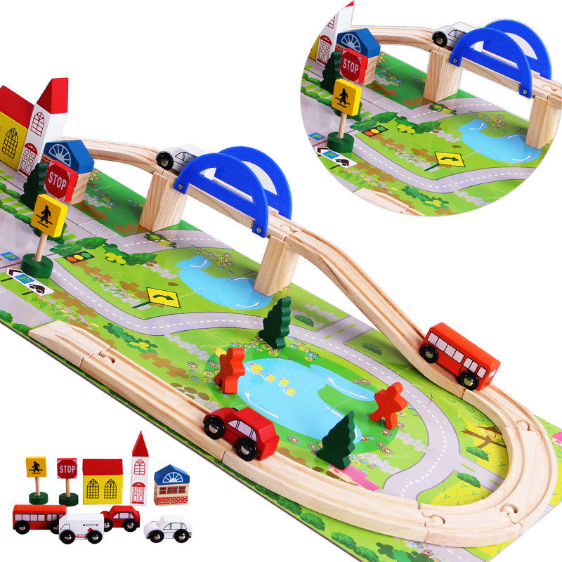 Baby Toys Educational Wooden Train Track Baby Changing Track Toys Children Rail Car toys Thomas Orbit Child Gift