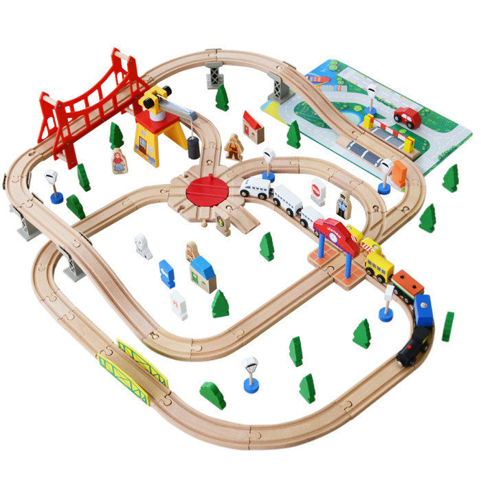 100PCS/lot Wooden train Switch Track set with Circular Turntable Educational Toys Kids Toy Compatible with Thomas In Stock