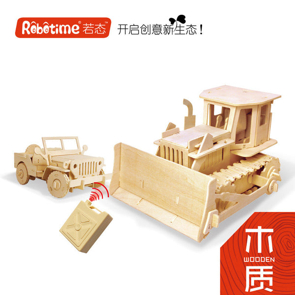 1PC 30cm Wooden Transport 3D DIY Puzzles,RC Tank Bulldozer Motor Tricycle Roller Jeep Missile Car Tractor Truck Toy Model