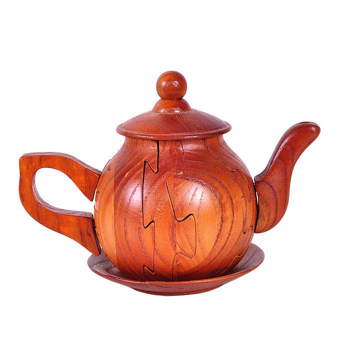 Kids wooden educational assembling toys IQ jigsaw teapot block puzzle sandalwood home decoration craft