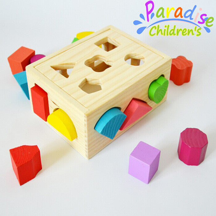 15 Hole colorful  three-dimensional shape of the paired blocks wooden toy box children's educational toys